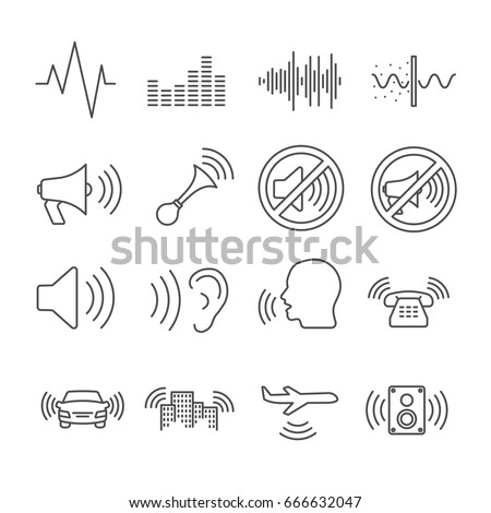 Set of noise Related Vector Line Icons. Contains such icon as sound, din, hum, hearing, sound waves, no noise sign, music, crashing, speaker