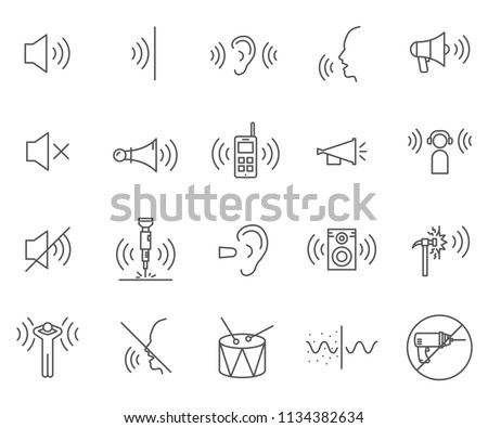 Set of noise Related Vector Line Icons. Contains such Icons as sound, volume, waves, hearing, speaker, microphone and more.