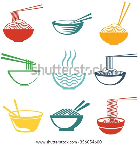 set of noodles or spaghetti in