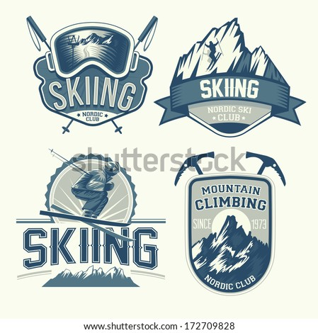 set of nordic skiing and