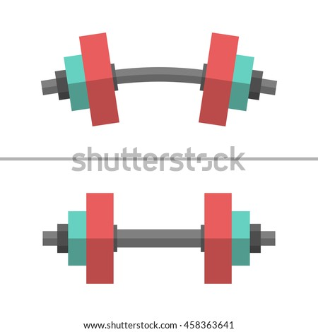 Set of normal and deformed bent dumbbells isolated on white. Sport equipment, weight lifting, exercise, strength and gym concept. Flat style. EPS 8 vector illustration, no transparency