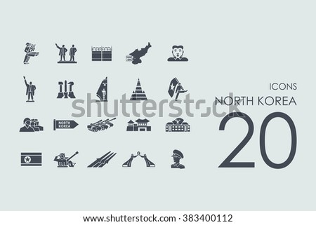 set of north korea icons