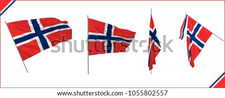 Set of Norway state waving flags in solemn or proud style. Vector illustration.