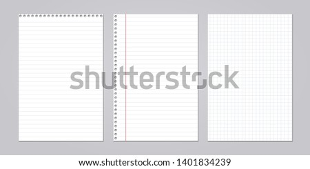 Set of note, notebook lined, squared paper stuck on grey background. Vector illustration