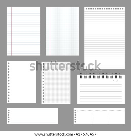 Set of notebook papers, vector, EPS 10