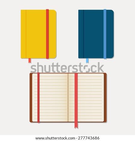 Set of notebooks in flat style with shadows. Vector illustration