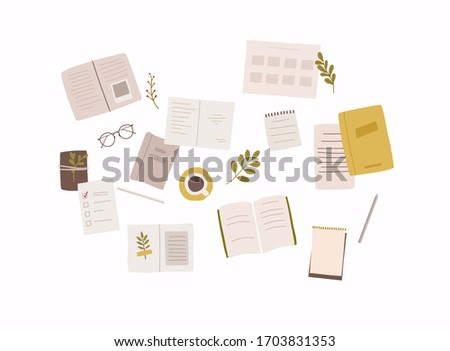 Set of notebooks, notepads, memo pads, planners, organizers for making writing notes.  Colorful vector illustration in flat style.