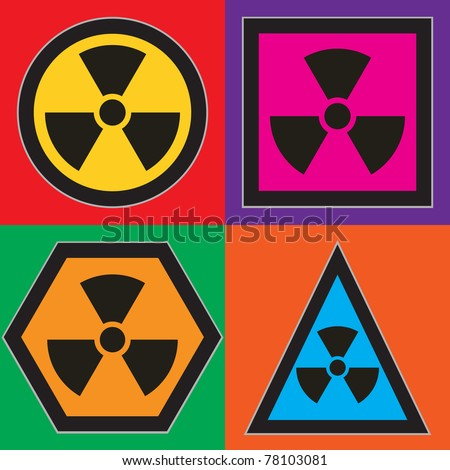 set of nuclear warning symbols