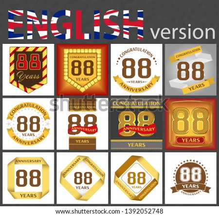 Set of number eighty-eight years (88 years) celebration design. Anniversary golden number template elements for your birthday party
