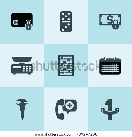 set of 9 number filled icons