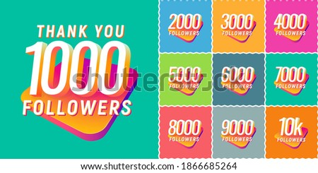 Set of numbers for followers vector illustration. Icons collections with numbers for Celebrate of followers isolated design elements Foto stock ©