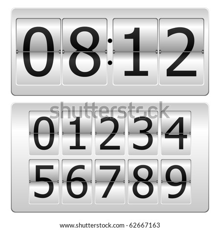 Set of numbers for use as a clock or counter