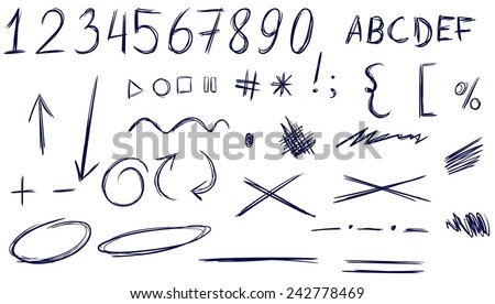Set of numbers, letters, punctuation marks, arrows, highlighting, underlining. Isolated. Handwriting