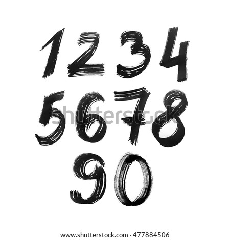 Set of numbers. Painted by black ink brush.