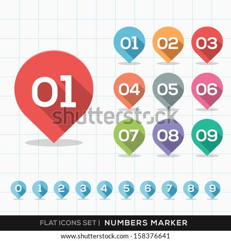 Set of Numbers Pin Marker Flat Icons with long shadow for GPS or Map
