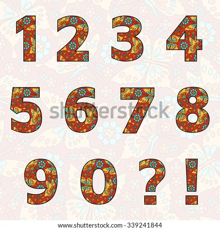 set of numbers with flowers and ...