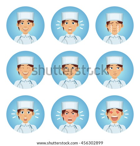 set of nurse emoticons female