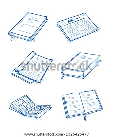 Set of objects as: books and magazines, newspaper, journal and dictionary. Hand drawn blue line art cartoon vector illustration.