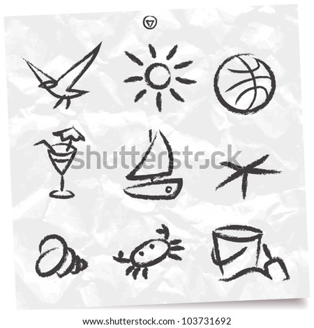 set of objects beach vacation - stock vector