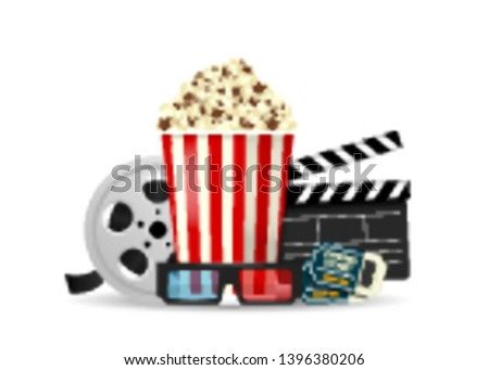 Set of objects cinema isolated on white background. Cinematography concept. Popcorn, film reel, clapper board, cinema tickets, 3d glasses. Vector illustration.