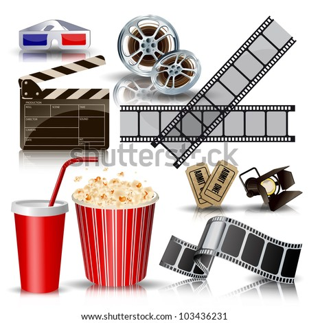 set of objects for cinematography clapper,film tape, 3d glasses vector illustration