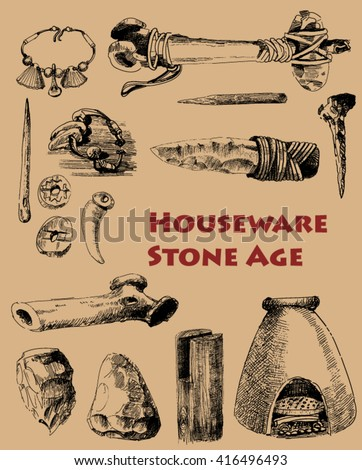 set of objects of the stone age