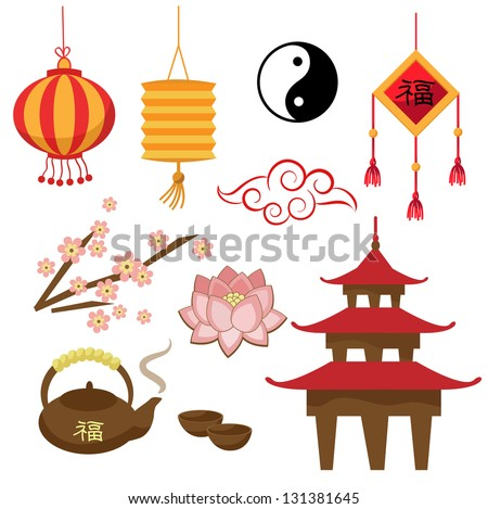 Set Of Objects The Chinese Tradition Vector
