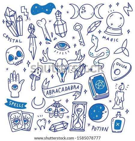 Set of Occult Doodles, Mystical Object, Cute Hand Drawn Style Tattoos