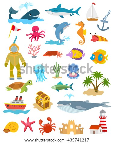 set of ocean animals and fishes