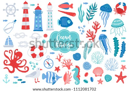 Set of ocean design elements - lighthouse, fish, shell, seaweed, jellyfish, crab, starfish, seahorse, coral, seagull, lifebuoy, octopus, sailing boat, steering wheel. Perfect for summer greeting cards