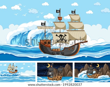 Set of Ocean with Pirate ship at different times scenes  in cartoon style illustration