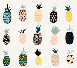 Set of of cute pineapples with different textures.