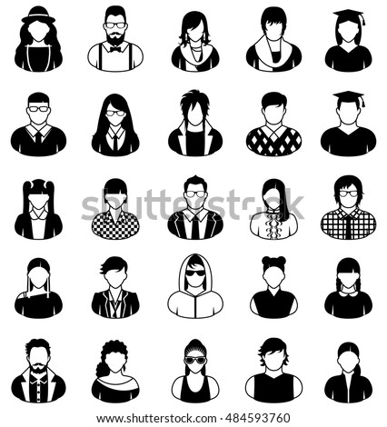 Set of of twenty-five icons of young people in black and white.