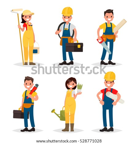 Set of of working professions. Painter, electrician, carpenter, plumber, a landscaper, engineer. Vector illustration in a flat style