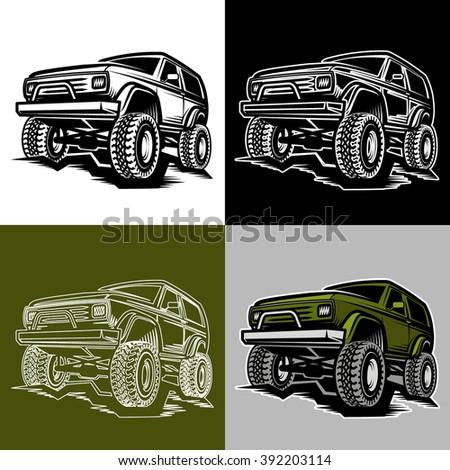 set of off road car truck 4x4