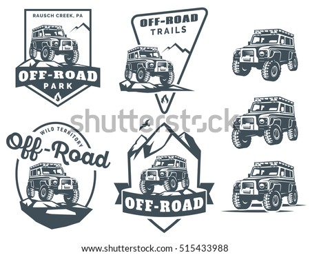 set of off road suv car