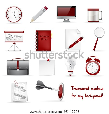 Set of office and business 3D glossy icons. Vector file.