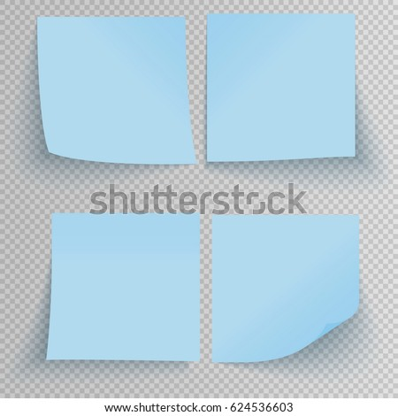 Set of office Blue sticky stickers with shadow isolated on a transparent background. Vector Blue post notes template.