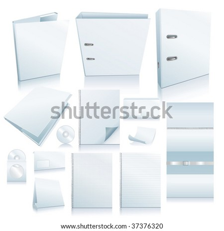 Set of office elements. Realistic VECTOR images. - stock vector