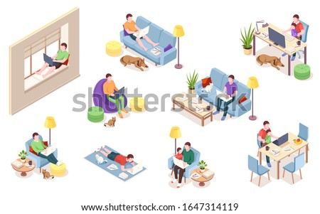 set of office employee at