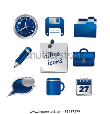 Set of office icons,vector.