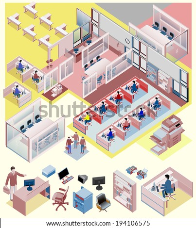 set of office isometric vector managers director sales manager waiting room awesome office table top view shutterstock id