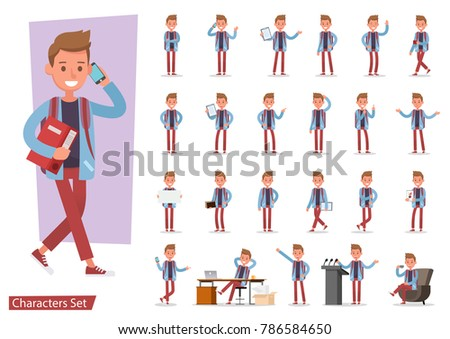 Set of office man worker character vector design. Presentation in various action with emotions, running, standing, walking and working.