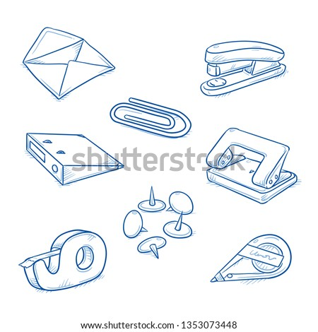 Set of office objects, as envelope, hole punch, stapler, adhesive tape, drawing pins, paper clip, bender and correction roller. Hand drawn line art cartoon vector illustration.