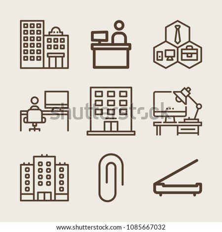 Set of 9 office outline icons such as building, attachment, business, worker, desk, scanner