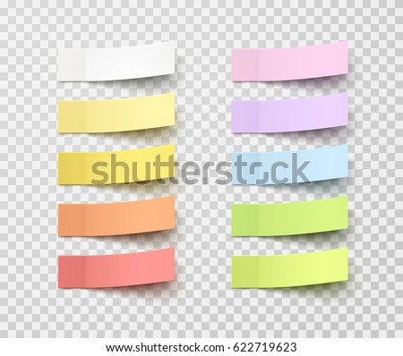 Set of office paper sheets or sticky stickers with flip edge isolated on a transparent background. Vector colorful post notes for your design