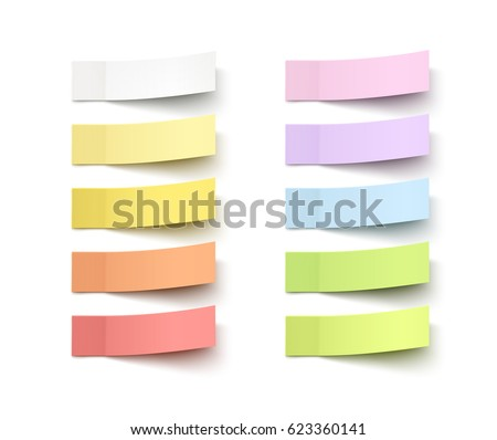Set of office paper sheets or sticky stickers with flip edge isolated on white background. Vector colorful post notes for your design