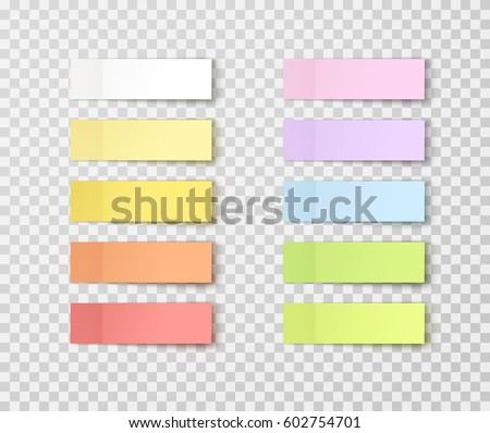 Set of office paper sheets or sticky stickers with shadow isolated on a transparent background. Vector colorful post notes for your design
