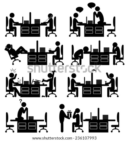 set of office situation flat