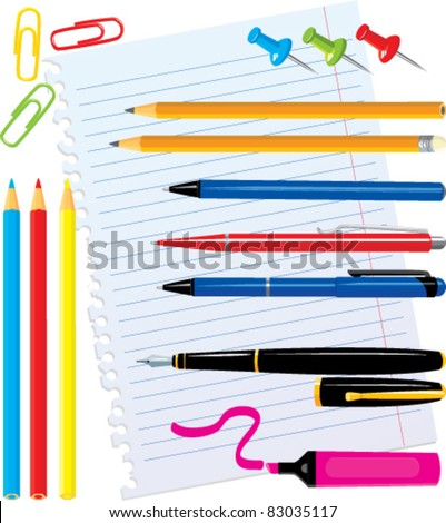 Set of office stationery - pens, color pencils, marker, paper clips, thumbtacks